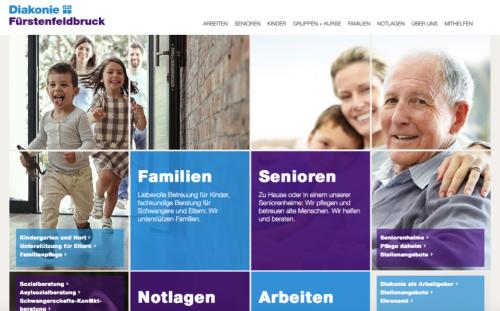 Bildschirmfoto der Startseite neue Website Diakonie FFB