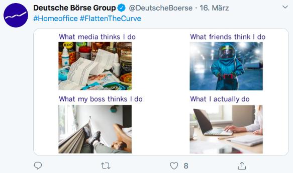 Unternehmenskommunikation in der Coronakrise – hier mit Humor: Tweet Deutsche Börse